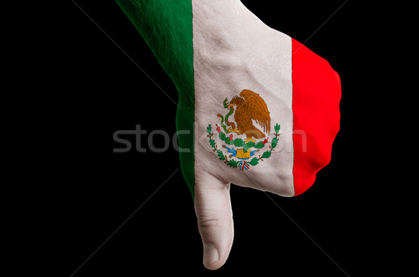 mexico national flag thumbs down gesture for failure made with h Stock photo © vepar5