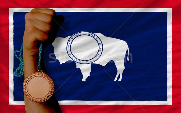 Bronzen medaille sport vlag amerikaanse Wyoming Stockfoto © vepar5