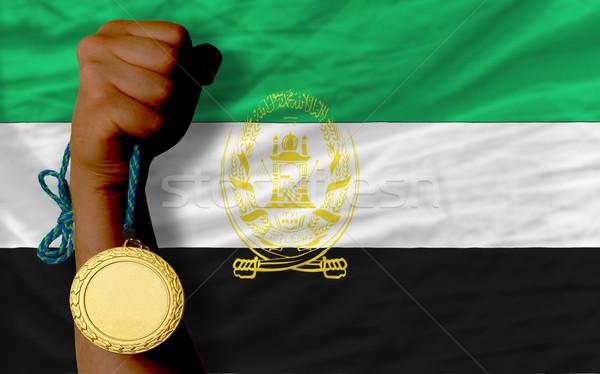 Aranyérem sport zászló Afganisztán nyertes tart Stock fotó © vepar5