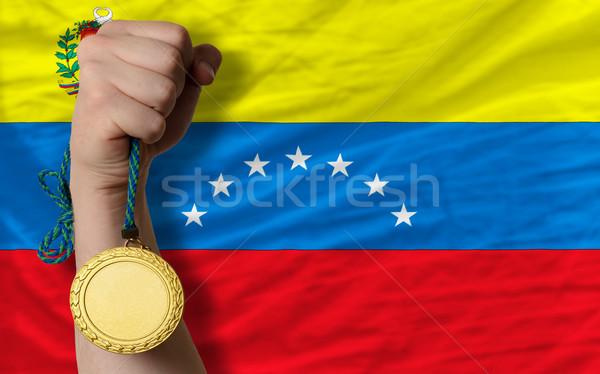Aranyérem sport zászló Venezuela nyertes tart Stock fotó © vepar5