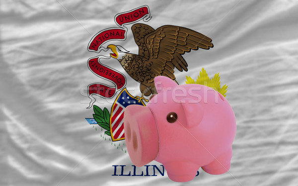 piggy rich bank and  flag of american state of illinois    Stock photo © vepar5