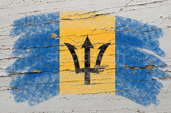 flag of barbados on grunge wooden texture painted with chalk   Stock photo © vepar5