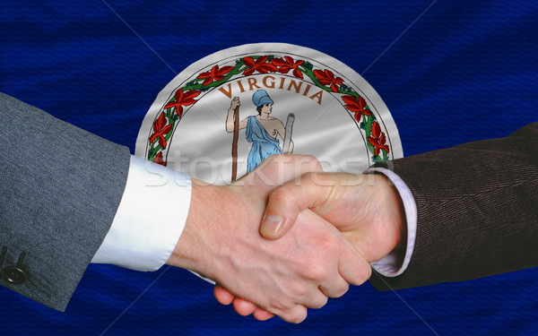 Amerikai zászló Virginia kettő üzletemberek kéz Stock fotó © vepar5