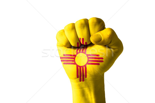 Fist painted in colors of us state of new mexico flag Stock photo © vepar5