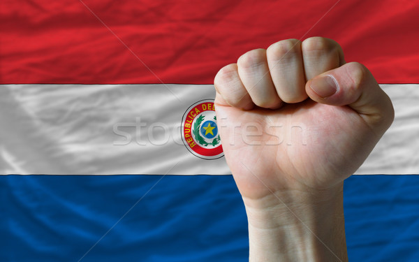Hard fist in front of paraguay flag symbolizing power Stock photo © vepar5