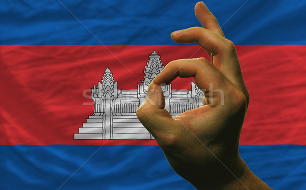 ok gesture in front of cambodia national flag Stock photo © vepar5