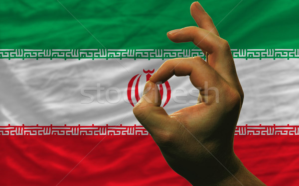 ok gesture in front of iran national flag Stock photo © vepar5