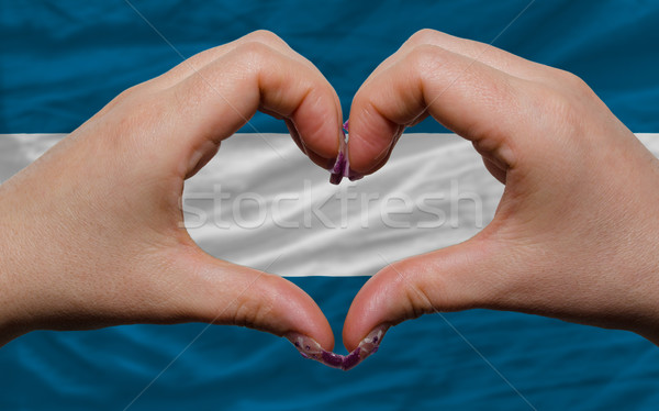 Bandeira El Salvador coração amor gesto mãos Foto stock © vepar5