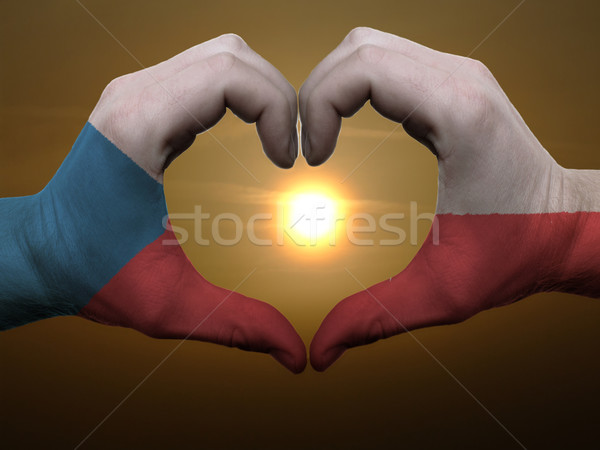 Heart and love gesture by hands colored in czech flag during bea Stock photo © vepar5