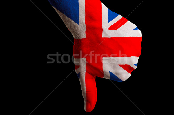 great britain national flag thumb down gesture for failure made  Stock photo © vepar5