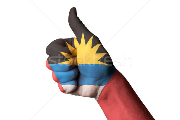 antigua barbuda national flag thumb up gesture for excellence an Stock photo © vepar5