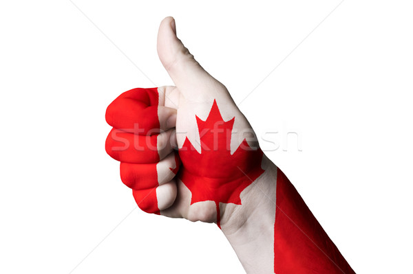 canada national flag thumb up gesture for excellence and achieve Stock photo © vepar5