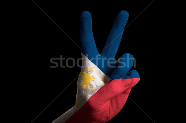 philippines national flag two finger up gesture for victory and  Stock photo © vepar5