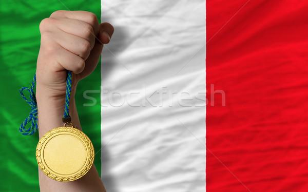 Médaille d'or sport pavillon Italie gagnant Photo stock © vepar5