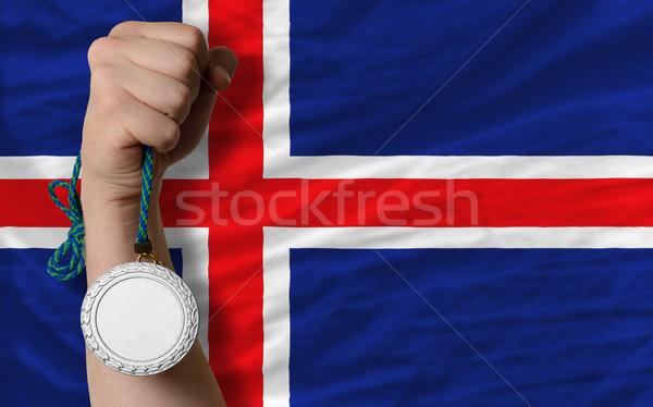 Silver medal for sport and  national flag of iceland    Stock photo © vepar5