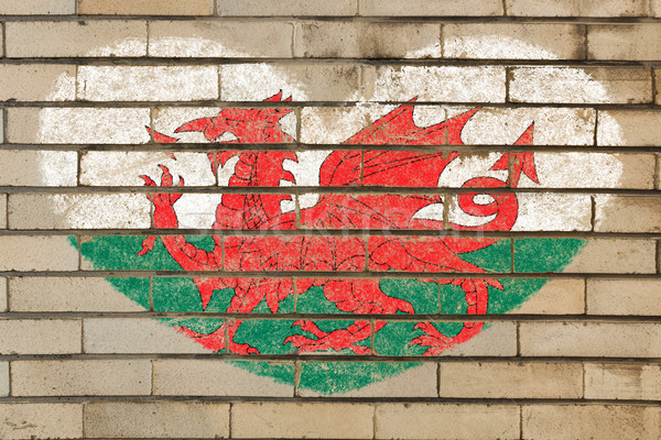 heart shape flag of wales on brick wall Stock photo © vepar5