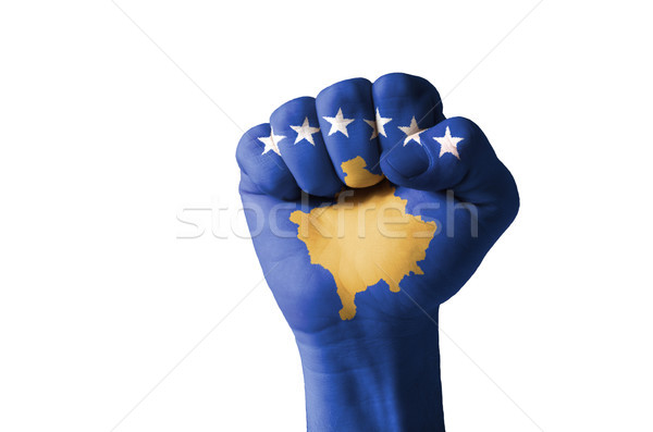 Fist painted in colors of kosovo flag Stock photo © vepar5