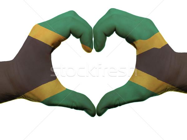 Hart liefde gebaar Jamaica vlag kleuren Stockfoto © vepar5
