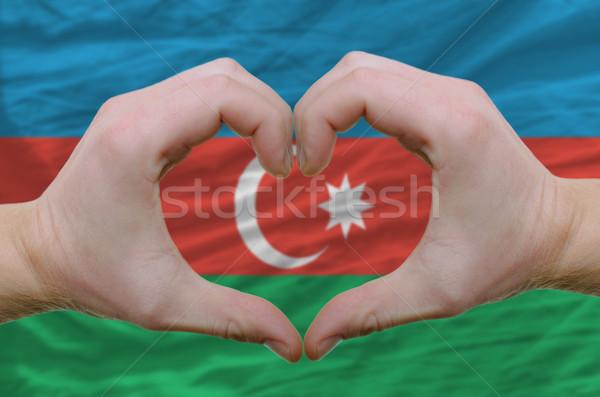 Szív szeretet kézmozdulat kezek zászló Azerbajdzsán Stock fotó © vepar5