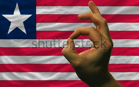 Heart and love gesture showed by hands over flag of liberia back Stock photo © vepar5