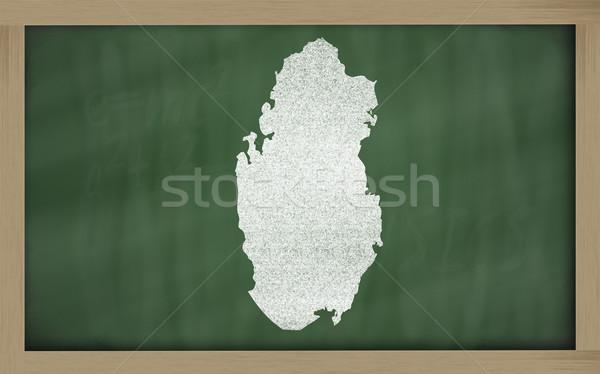 outline map of qatar on blackboard  Stock photo © vepar5