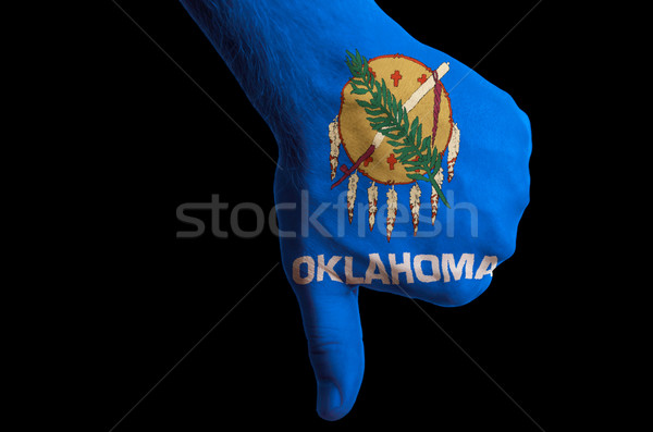 oklahoma us state flag thumbs down gesture for failure made with Stock photo © vepar5