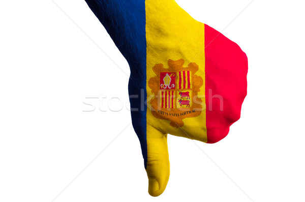andorra national flag thumb down gesture for failure made with h Stock photo © vepar5
