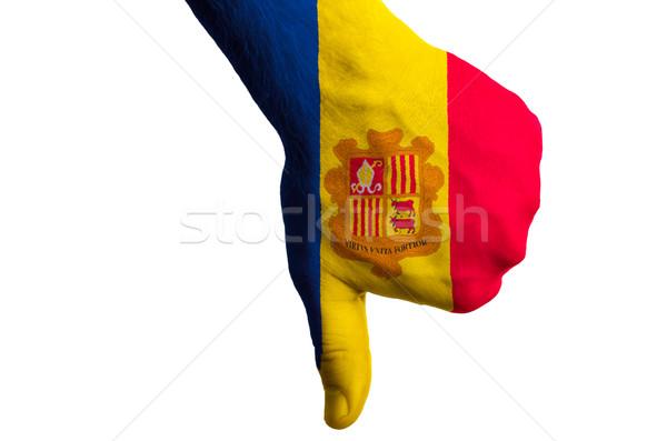 Andorra bayrak başparmak aşağı jest başarısızlık Stok fotoğraf © vepar5