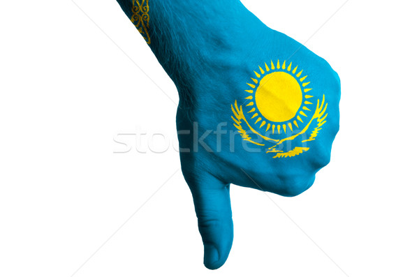 Stock photo: kazakhstan national flag thumbs down gesture for failure made wi
