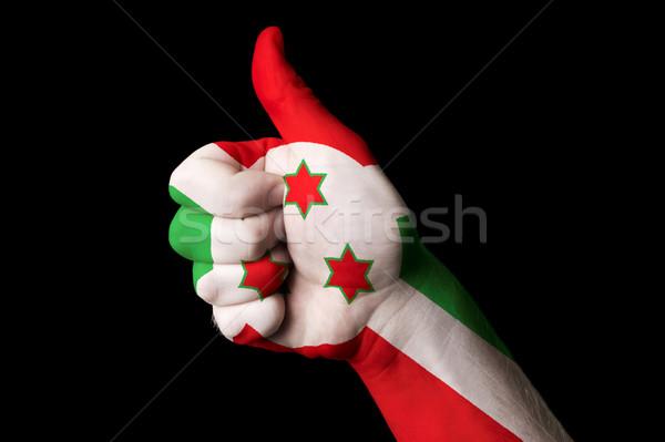Burundi bandeira polegar para cima gesto excelência Foto stock © vepar5