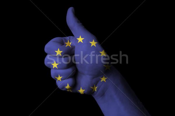 Europa bandera pulgar hasta gesto excelencia Foto stock © vepar5