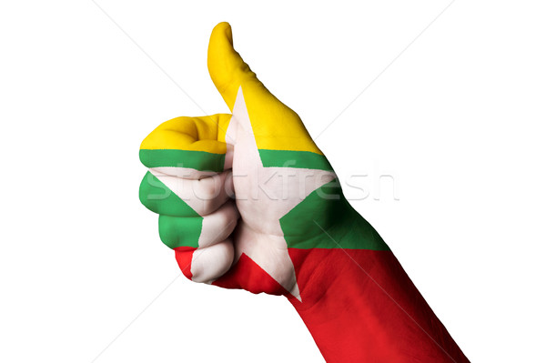 myanmar national flag thumb up gesture for excellence and achiev Stock photo © vepar5