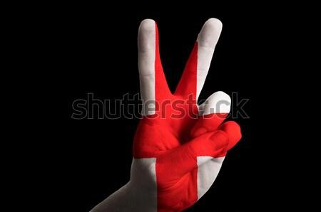 Marokkó zászló kettő ujj felfelé kézmozdulat Stock fotó © vepar5