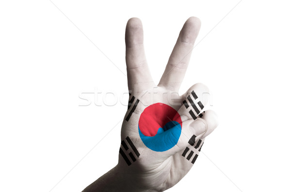 south korea national flag two finger up gesture for victory and  Stock photo © vepar5