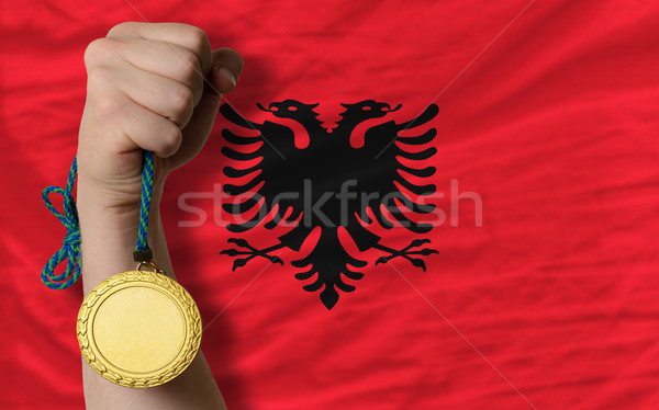 Gold medal for sport and  national flag of albania    Stock photo © vepar5