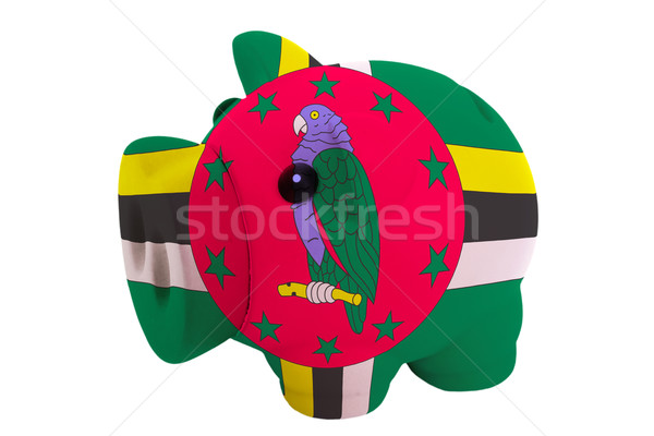 piggy rich bank in colors  national flag of dominica    for savi Stock photo © vepar5