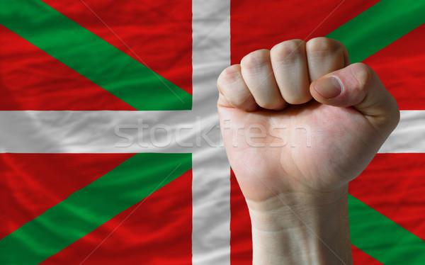 Hard fist in front of basque flag symbolizing power Stock photo © vepar5