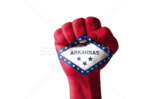 ököl festett színek Arkansas zászló alacsony Stock fotó © vepar5