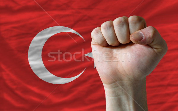 Hard fist in front of turkey flag symbolizing power Stock photo © vepar5