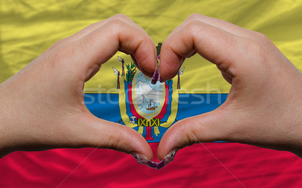 over national flag of ecuador showed heart and love gesture made Stock photo © vepar5