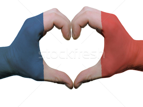 Heart and love gesture in france flag colors by hands isolated o Stock photo © vepar5