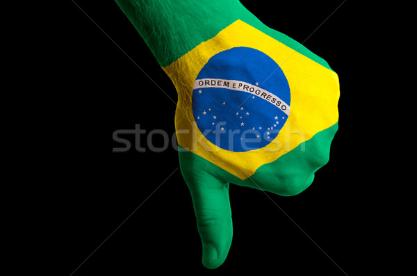 brazil national flag thumb down gesture for failure made with ha Stock photo © vepar5