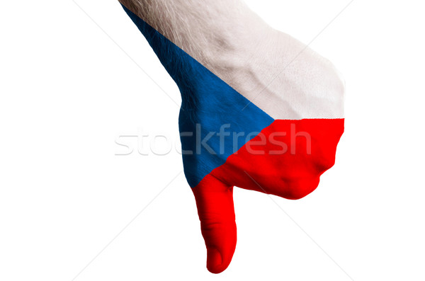 czech national flag thumb down gesture for failure made with han Stock photo © vepar5