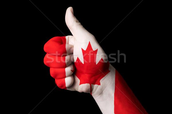 Foto stock: Canadá · bandeira · polegar · para · cima · gesto · excelência