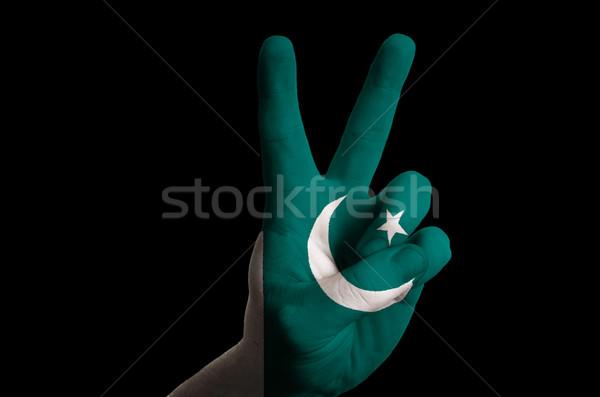 Pakistan bayrak iki parmak yukarı jest Stok fotoğraf © vepar5