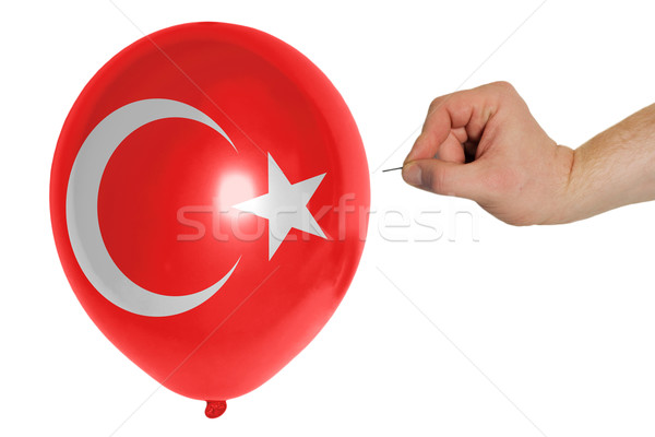Bursting balloon colored in  national flag of turkey    Stock photo © vepar5