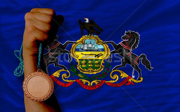 Bronzen medaille sport vlag amerikaanse Stockfoto © vepar5