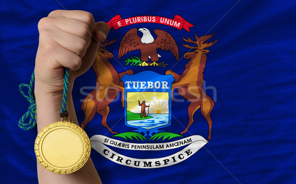 Medalha de ouro esportes bandeira americano Michigan vencedor Foto stock © vepar5
