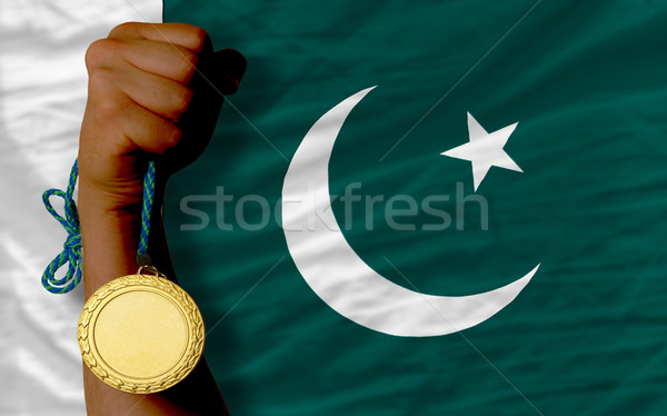 Aranyérem sport zászló Pakisztán nyertes tart Stock fotó © vepar5