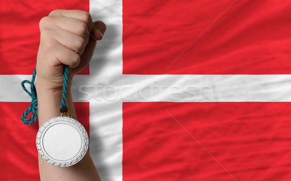 Plata medalla deporte bandera Dinamarca Foto stock © vepar5